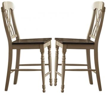 Homelegance Ohana Counter Height Chair in Antique White/Warm Cherry (set of 2) 1393W-24