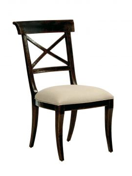 "Bernhardt Vintage Patina Side Chair with ""X"" Shaped Back Splat in Molasses (Set of 2) 322-555B"