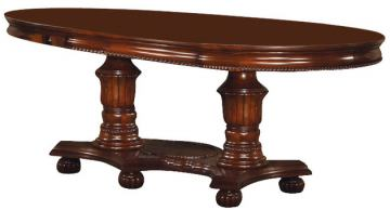 Acme Classique Double Pedestal Dining Table in Brown Cherry 11830