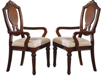 Acme Classique Dining Arm Chairs in Brown Cherry 11834 (Set of 2)