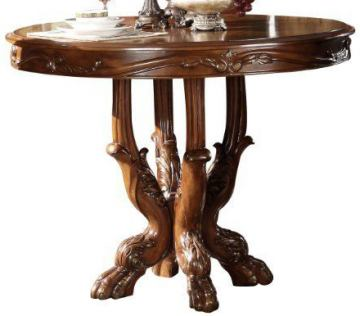 Acme Dresden Round Pedestal Counter Height Dining Table in Brown Cherry Oak 12160 SPECIAL CLEARANCE
