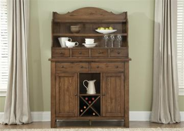 Liberty Furniture Hearthstone Server with Hutch in Rustic Oak 382-SRH5074