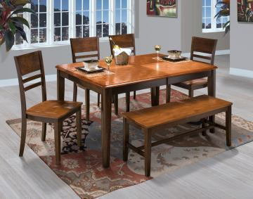 New Classic Latitudes 6 Piece Round Corner Dining Set in Two Tone