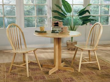 Coaster 5pc Round Drop Leaf Dining Set in Natural Finish 4137S