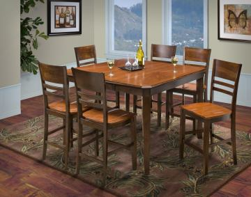 New Classic Latitudes 7 Piece Counter Height Cut Corner Dining Set in Two Tone