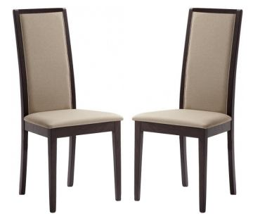 Domitalia Topic High Back Chair in Longlife Beige and Wenge (Set of 2)