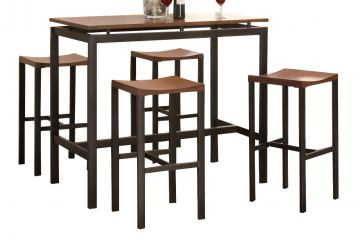Coaster Atlas 5 Piece Counter Height Dining Set in Light Oak and Gold 150097