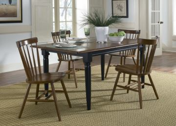 Liberty Furniture Creations II 5pc Butterfly Leaf Table Set in Black and Tabacco 48-T3