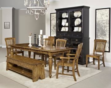 Broyhill New Vintage 7Pc Chevron Rectangular Dining Set in Vintage Brown
