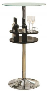 Coaster Black Bar Table with Tempered Glass Top and Storage 120715