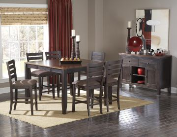 Homelegance Natick 7pc Counter Height Table Set in Warm Espresso/Light Brown