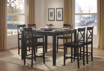 Homelegance Billings 7pc Counter Height Table Set in Black
