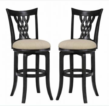 Hillsdale Embassy Swivel Counter Stool in Rubbed Black (Set of 2) 4808-822