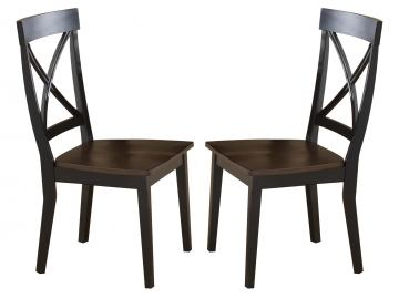 Hillsdale Englewood X-Back Dining Chair in Rubbed Black and Brown Cherry (Set of 2) 4884-802