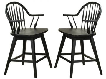 Liberty Furniture Hearthstone 24 Inch Swivel Counter Chair in Black (Set of 2) 482-B100324