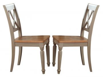 Liberty Furniture Al Fresco Double X Back Side Chair (Set of 2) in Driftwood/ Taupe 541-C3000S