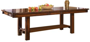 A-America Mesa Rustica Gathering Trestle Table in Aged Mahogany MESAM6700
