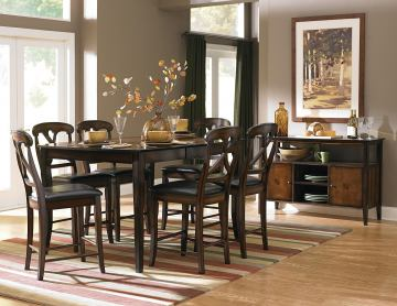 Homelegance Kinston 7pc Counter Height Table Set in Distressed Oak