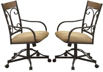 Acme Furniture Kiele Caster Arm Chair in Oak and Antique Black (Set of 2) 71132