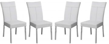 Acme Furniture Danny Side Chair in White and Chrome (Set of 4) 71254