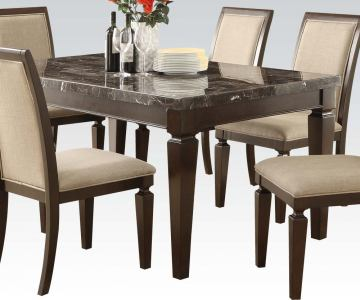 Acme Agatha Black Marble Top Rectangular Dining Table  in Espresso 70485