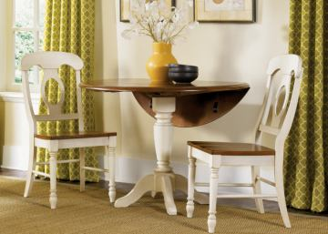Liberty Furniture Low Country 3pc Drop Leaf Pedestal Table Set in Linen Sand with Suntan Bronze Finish 79-TN