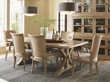 Lexington Monterey Sands 7-pc Walnut Creek Dining Table and Los Altos Chairs Set in Sandy Brown