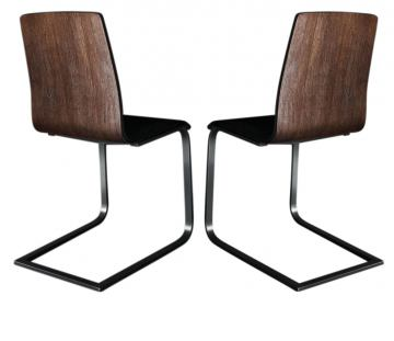 Domitalia Juliet-SL Chair in Black/Chocolate/Chrome JULIE.S.00F.AN.CHR.7JR (Set of 2)