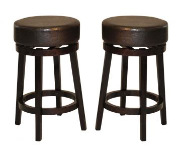 "ECI Furniture 29"" Backless Swivel Stool with Brown Seat in Espresso N1310-99-BLBS-BRN-29 (Set of 2)"