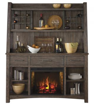 Liberty Furniture Stone Brook Hutch and Buffet with Fireplace in Rustic Saddle 466-DR-HB