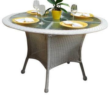 South Sea Rattan Key West Outdoor Round Dining Table in Rustic White 75417-RUW