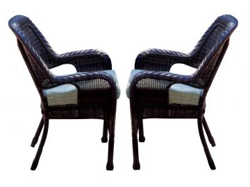 South Sea Rattan Key West Outdoor Arm Chair in Chocolate (Set of 2) 75421-CHO