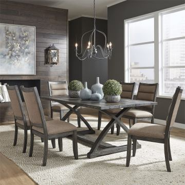 Liberty Furniture Highland Creek 7pc Trestle Dining Room Set in Rustic Charcoal