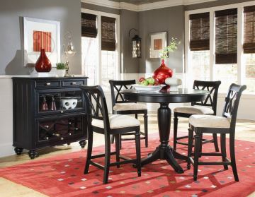 American Drew Camden 5-Pc Counter Height Round Dining Set in Black