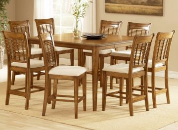 Hillsdale Bayberry 9pc Counter Height Dining Room Set in Oak