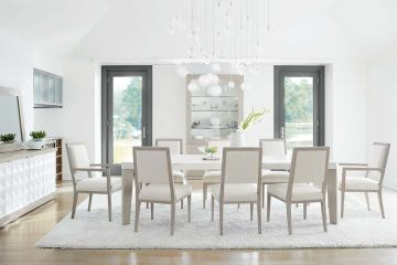 Miraculous Bernhardt Axiom 7Pc Rectangular Dining Set In Linear Gray Interior Design Ideas Ghosoteloinfo