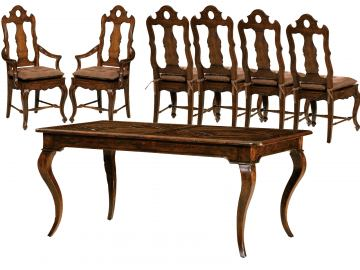 Hekman Rue de Bac 7 Piece Rectangular Dining Set in Cognac