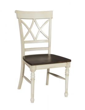 John Thomas Furniture Camden Cathedral Chair (Set of 2) in Eggshell/Walnut C90-43