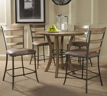 Hillsdale Charleston 5pc Round Counter Height Dining Room Set w/ Non-Swivel Ladder Back Counter Stools in Desert Tan