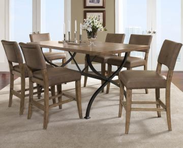 Hillsdale Charleston 7pc Rectangle Counter Height Dining Room Set w/ Non-Swivel Parson Counter Stools in Desert Tan