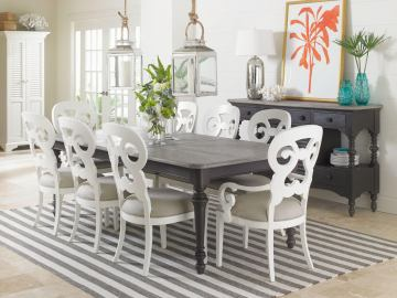 Stanley Coastal Living Retreat 9pc Dining Room Set with Rectangular Leg Table and Wayfarer Side & Arm Chairs in Gloucester Grey