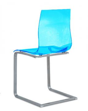 Domitalia Gel-SL Clear Chair in Blue and Chrome (Set of 2)