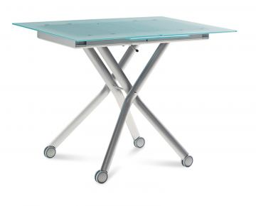 Domitalia Esprit-V Rectangular Folding Table with Glass Top