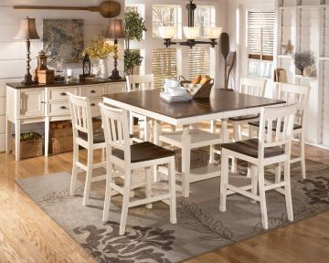 Whitesburg 7-Piece Square Counter Height Extension Table Set in Brown - White