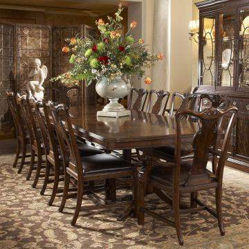 Fine Furniture Hyde Park Double Pedestal Dining Table in Saint James 1110-818/819