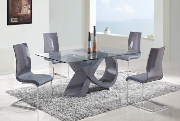 Global Furniture D989 5-Piece Dining Room Set in Grey