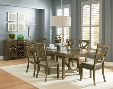 Standard Furniture Omaha 7-Piece Trestle Table Set in Grey