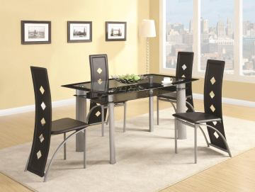 Coaster Fontana 5-pc Rectangular Glass Dining Table Set in Silver