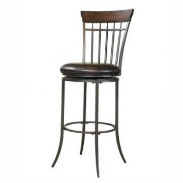 Hillsdale Cameron Swivel Vertical Spindle Back Bar Stool in Chestnut Brown (Set of 2) 4671-831