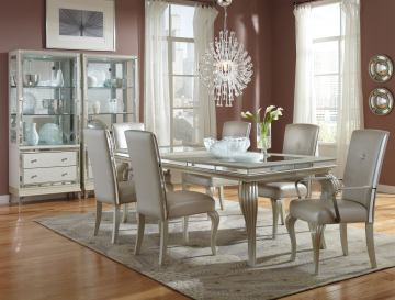 AICO Hollywood Loft 7-Piece Rectangular Leg Dining Set in Frost